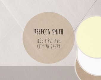 "HANDWRITTEN font return address label stickers modern minimalist personalized round 12 large 2.5"" or 20 medium 2"" brown bag KRAFT paper"