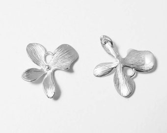 P0460/Anti-tarnished Matte Rhodium Plating Over Brass/Orchid Leaf Pendant Connector/14x16mm/4pcs