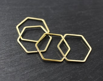 P0194/Anti-Tarnished Gold Plating Over Brass/Hexagon Connector/20x20mm/4pcs