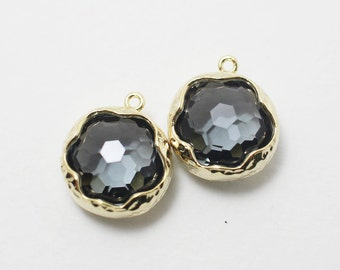 G001406/Charcoal/Gold plated over brass/Honeycomb faceted glass pendant/13.7x 15.9mm/2pcs