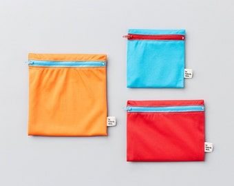 Trio Popsicle ~ reusable sandwich and snack bags ~ Reusable snack and sandwich zipper bags