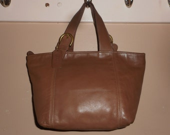 "VINTAGE COACH Waverly 13"" x 10"" Cocoa Brown Leather Tote/Handbag Bag #A6H-4133 USA"