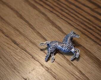 Antique Sterling Silver Filigree horse brooch/pin