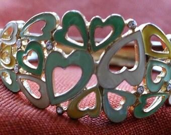 Hearts, Hearts, Hearts, Enamel, Rhinestone Metal Hinge Bangle Bracelet