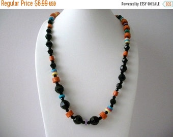 ON SALE Vintage Colorful Etched Plastic Beads Necklace 8116