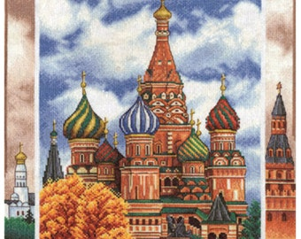 Cross Stitch Kit by Panna - MOSCOW. St. Basil's Cathedral; Russia cross stitch, World capitals embroidery; City cross stitch