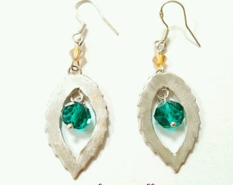 fine silver leaf earrings - silver leaf drop earrings - handmade silver leaf earrings - leaf earrings silver