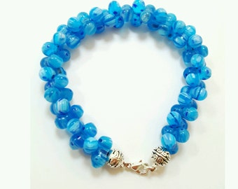 Millefiori beaded bracelet, blue glass jewelry, peanut bead bracelet, blue millefiori bracelet, murano glass bracelet, murano glass jewelry
