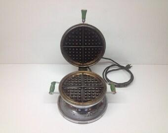 Vintage Mid-Century Modern Retro Chrome Waffle Maker - Art Deco Kitchen Appliance Decor