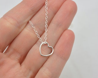 Sterling Silver Heart Necklace, Open Heart Necklace, Floating Heart Necklace, 925 Sterling Silver, Valentines Day Gift for Her 0377