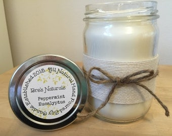 Peppermint Eucalyptus - Soy Candle - All Natural - Handmade Soy Candle - 12 oz