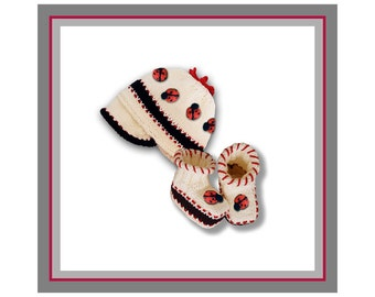 Ladybug Baby Booties & Baby Ladybug Beanie Cap