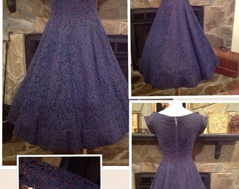 VINTAGE Mid- Century JONATHAN LOGAN Navy Blue Lace Dress best fit 3/4 5/6