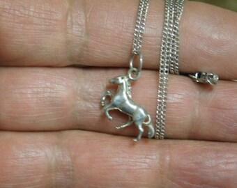 Vintage Sterling Silver Hors Necklace Pendant
