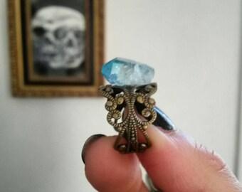Aqua aura filigree ring ❄