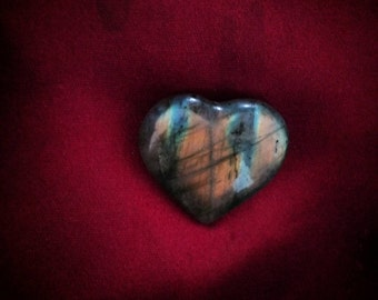 Golden and blue labradorite heart