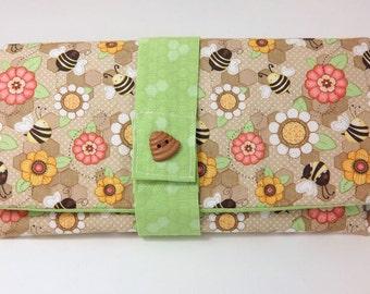 SALE Queen Bee Wallet, Bumble Bee Wallet, Bee Hive Clutch, Handmade Wallet, Make up bag