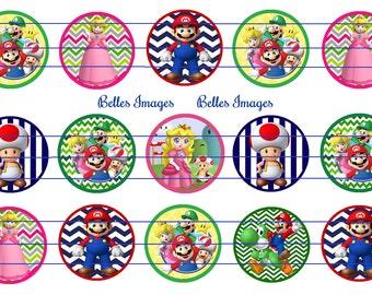 Mario Bros. Bottle Cap Image 1 inch circles