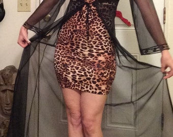 Flirty black sheer Mistra vintage dressing gown