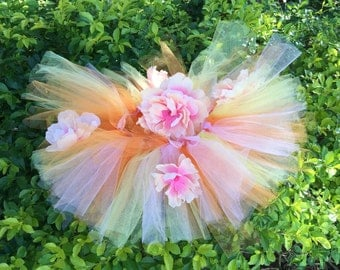 Orange pink yellow flower tutu with matching head band.