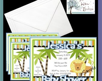 pack of 4 King or Queen of the Jungle Baby Shower Invitations or Thank you Cards Personalized with your Information
