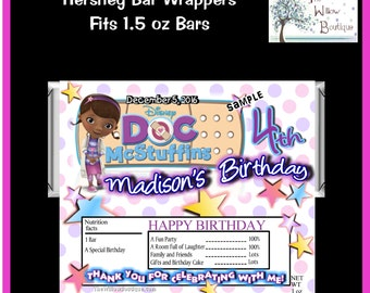 Hershey Bar wrappers Doc McStuffins BIRTHDAY Favors Personalized with your childs name etc.