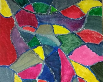 Rainbow mosaic mixed media original painting