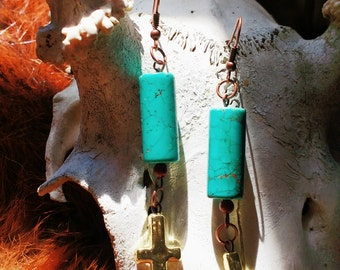 Teal bead inverted cross earrings