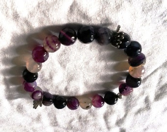 10mm Faceted Purple Fire Agate Bracelet