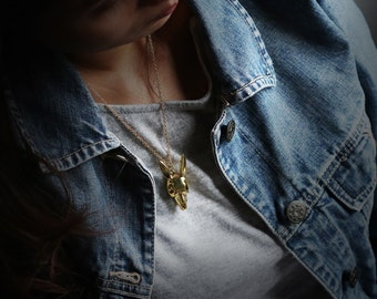 Rabbit Skull Charm Necklace by Defy / Bunny Skull Charm Brass Pendant Necklace Jewelry