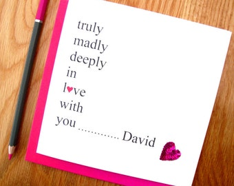 Personalised Valentine's Card For Husband / Wife or  Boyfriend /Girlsfriend