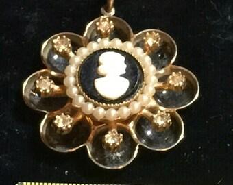 Vintage Coro Goldtone Cameo Rhinesone Pendant