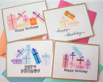 Birthday Cards Set (4), Watercolor Cards, Colorful Presents