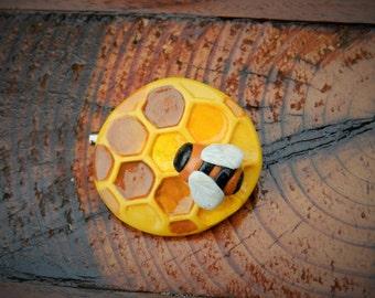 polymer clay brooch honeycomb