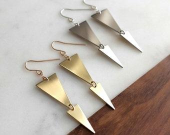 Deco Stepped Earrings - Gold or Silver Earrings, Elegant Art Deco Earrings, Triangle, Spear, Dangle, Geometric, Gifts for Her