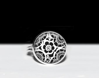 White Floral Lace Image on Black Adjustable Ring. Vintage Floral Lace Elegant Jewelry. 16 mm or 5/8 in Sliver and Glass Dome Ring