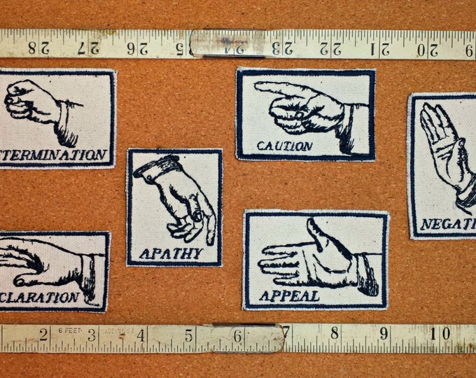 Hand Gesture Set of Six Embroidered Modern Vintage Graphic Upcycled Canvas Jacket Patches