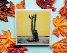 Cactus in a Boot Coaster - Yellow Wall with Cactus in a Western Cowboy Boot Photography Print on Ceramic Tile