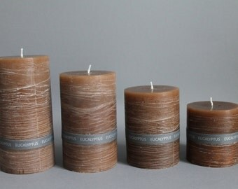 EUCALYPTUS fragrance & rustic pillar candle handmade solid colours in 4 sizes