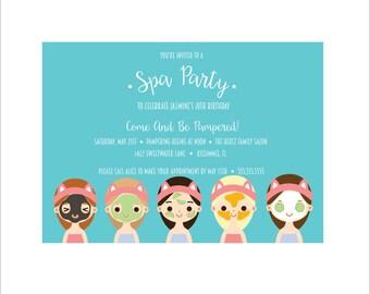 Spa Party DIY Printable Birthday Party Invitation