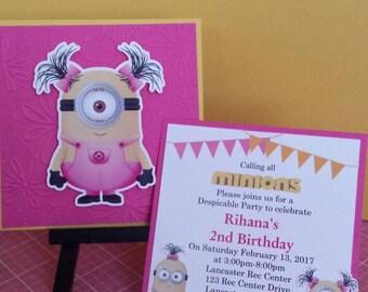 Minion Invitation, Pink Girl Minion Birthday Invitation