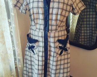 1940's 40's True Vintage Day Dress 1950's 50's House Dress Size Large 1940s 40s Size Large L