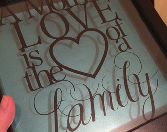 "Vinyl framed gift ""A Mother's Love is the Heart of a Family"""