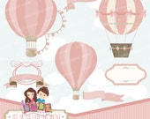 Hot Air Balloon Pink Vintage, Clipart, Digital Paper, Birthday Girl, Baby Shower, Baptism, Frame, Banner, Balloons, Vintage