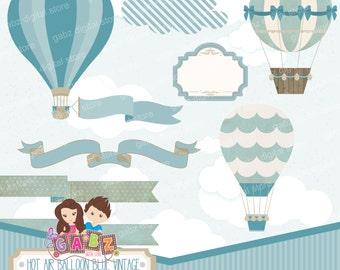 Hot Air Balloon Blue Vintage, Clipart, Digital Paper, Birthday Boy, Baby Shower, Baptism, Frame, Banner, Balloons, Vintage