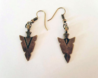 Bronze Arrowhead Earrings