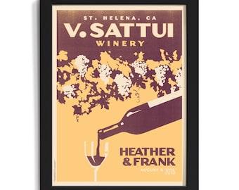 Vineyard Wedding Personalized Unframed Art (Yellow, Large)