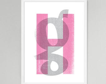 Initial Over Print Personalized Baby/Kids Art (Pink, Medium)