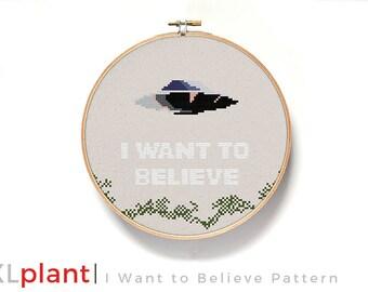 X Files I Want to Believe Cross Stitch Pattern (PDF)