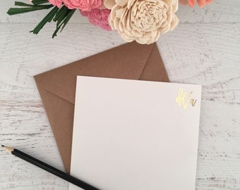 Gold Personalized Stationery, Personalized Stationary, Monogram Cards, Personalized Notecard, Gold Stationery, Gold Foil Stationery, Monogra